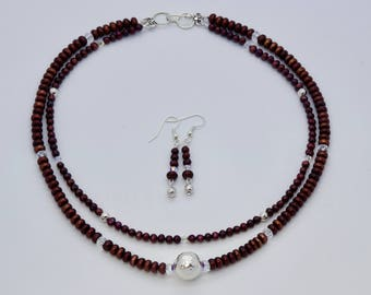 Artisan Created 2-Strand Natural Cultured Freshwater Pearl Necklace and Earring Set, Dyed Raspberry, with Swarovski Crystals and Sterling