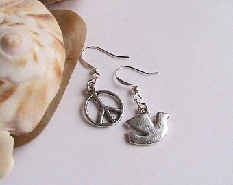 Peace Sign and Dove Silver Earrings, Silver Peace Sign Earrings, Hippie Earrings, Peace Sign Earrings, Peace Earrings, Clipons, Clip ons
