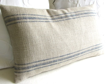 FRENCH LAUNDRY 16x26 Pillow cover BLUE Stripes