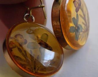 Vintage earrings, embedded flowers in amber colored lucite drop earrings, vintage jewelry