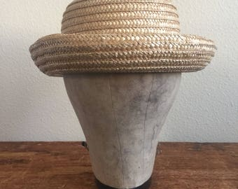 Vintage rolled brim straw hat