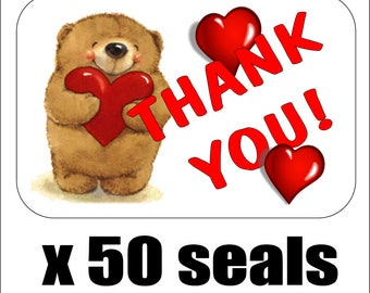 """50 Bear With Hearts Thank You Envelope Seals / Labels / Stickers, 1"""" by 1.5"""""""