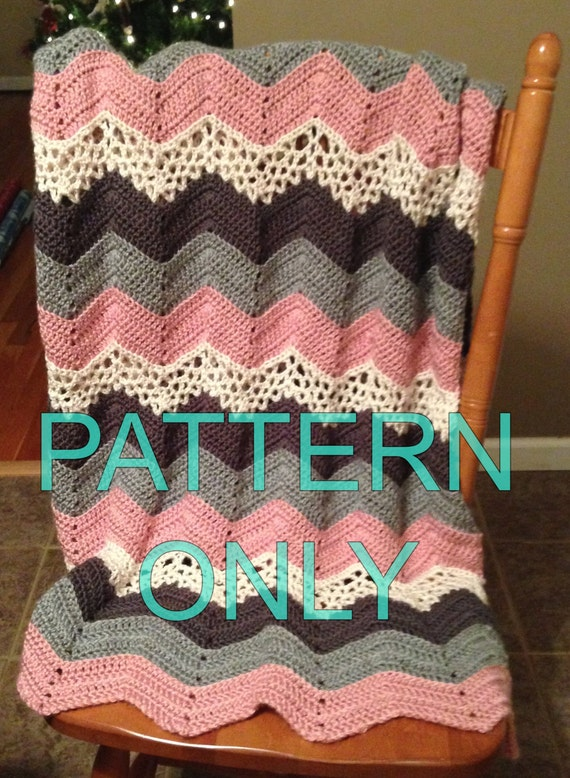 Items Similar To Crochet Pattern For Lacy Ripple Afghan Blanket Or