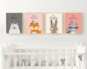 Set of 4, Woodland nursery, Forest animal set, Nursery art, Forest friends, Nursery forest decor, Printable, Pink grey, Girl nursery, Giclee