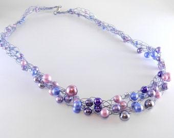 Purple Wire Crochet Necklace, Crocheted Wire Jewelry