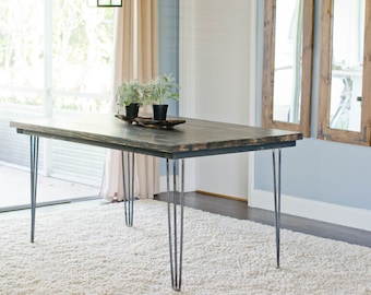 Hairpin Leg Dining Table, Industrial Dining Table, Farmhouse Dining Table, Rustic Dining Table, Hairpin Table