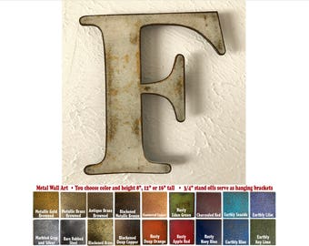 """Metal Letter F - 8"""", 12"""", 16"""" or 22"""" inch tall - Handmade metal wall art - Choose your Patina Color, Size and Letter or Number - Metal Decor"""
