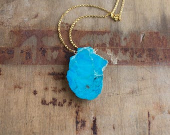 Turquoise Necklace, Raw Turquoise Slab Necklace, Boho Necklace, Stone Necklace, Natural Turquoise Jewelry, Gift for Her, December Birthstone