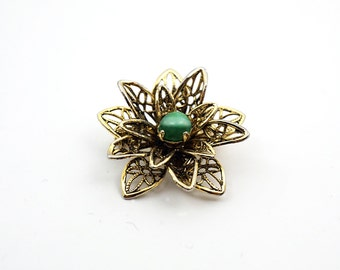 Inspirational Art Nouveau Petite Intricate Vintage FLORAL FILIGREE 14K Gold Miniature Brooch Pin, Green Cat's Eye Chrysoberyl Gemstone
