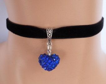 black velvet choker, rhinestone heart, blue heart, stretch velvet