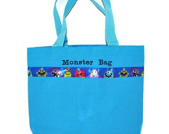 Monster Tote Bag with Monogram Name Embroidered on it, Personalized Bag, Swin Bag, Toy Bag, Boy Tote Bag