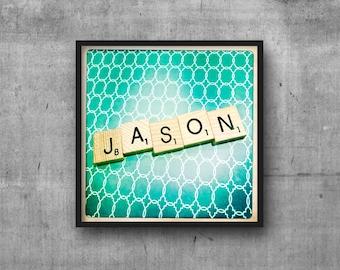 JASON - Name Art - Scrabble Tile Name - Art Photo - Photography Art Print - Name Sign