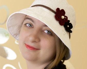 White Linen Women's Hat, Lace Crochet Flowers