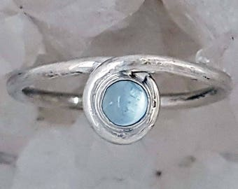 Hand Crafted Sterling Silver Ring, set with March Birthstone
