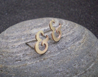 Bronze ampersand stud earrings - typography jewellery