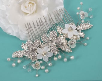 Rosie - Mother of Pearl , Freshwater Pearl,Rhinestone Flower and Rhinestone Leaves Bridal Comb