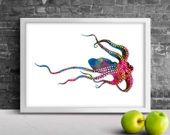 Octopus watercolor printable art, Octopus Poster, Animal Watercolor, Octopus Home Decor, Octopus Painting, Animal Art, Instant Download
