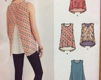 Misses' Easy Top Pattern Sleeveless Short Sleeve Cold Shoulder Size 6 8 10 12 14 16 18 Bust 30.5 31.5 32.5 34 36 38 40 New Look K6376 Uncut