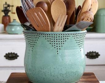 Jumbo Utensil Holder - Aqua Mist - Flower Pot - Kitchen Decor - Hand Thrown Vase - Modern Home Decor - MADE TO ORDER