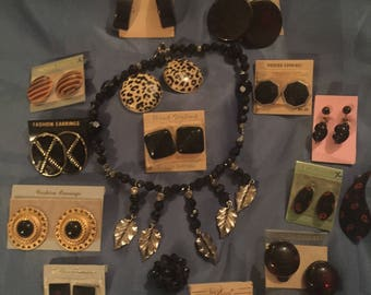 Vintage Estate Lot of 15 Black, NOS, Milk Glass Gold Filled Screw Back Earrings, & More!
