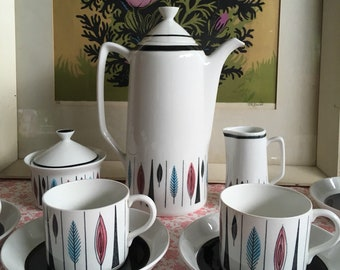 Rorstrand Sweden 'Tango' Coffee Set for 4, Mid Century Scandinavian Design / Rörstrand