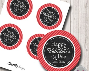 Personalized Happy Valentine's Day Circle Tag - HT021 - DIY valentine gift tags, printable, chalkboard