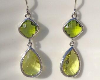 Green Apple Silver Teardrop Earrings, Bridesmaid earrings, gift