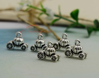 30PCS--13x11mm ,pumpkin carriage Charms, Antique Silver 3D Pumpkins Charm pendant, DIY supplies,Jewelry Making