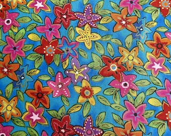 "Neon Flowers fabric 3 1/2 yd. x 44"" wide"