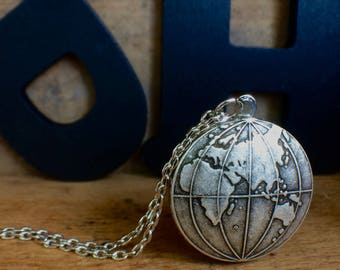 Silver world map locket globe locket earth necklace map silver world locket globe locket world necklace travel gift graduation gift gumiabroncs Gallery