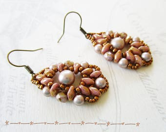 Woven earrings, old super-duos rose and pearls