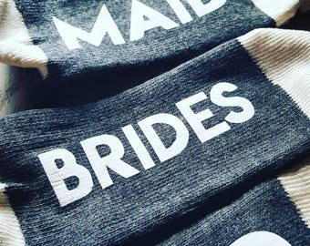 Custom Bridal Party Socks - Gift - Bride Tribe - Maid of Honour - Bridesmaid - Dark Grey