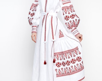 Embroidered Long Boho Dress white for women. Ukrainian Vyshyvanka. Red embroidery Boho style. Best girls wedding dresses.