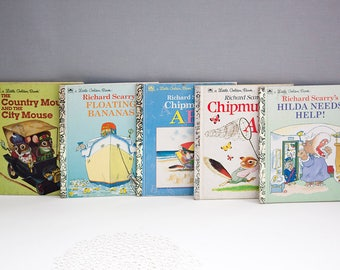 Vintage Lot of Children's Books, Richard Scarry & Little Golden Book
