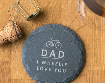 Personalised Cycling Pun Natural Slate Coaster