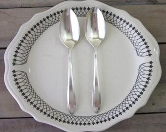 Vintage Silver Plate Serving Spoons Set of Two Floral Design