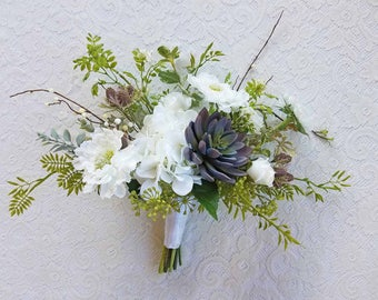 White & Blue Succulent Wedding Bouquet, for your Fall Wedding...Ready To Ship!