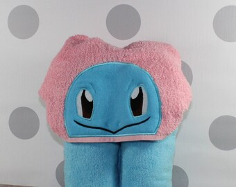 Kid's Squirtle Hooded Towel - Squirtle Towel for Bath, Beach, or Swimming Pool - Kid-Size Squirtle Towel - Great Christmas Gift Idea!