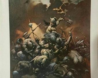 Vintage Frazetta color print titled The Destroyer.