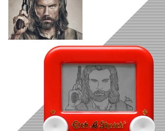 Custom Mini Single Etch A Sketch art Portrait (1 subject) - unique geek nerd nostalgic retro decor