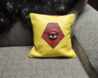 "Monster Pillow 12"" x 12"" -Red/Yellow Leather with Yellow Eye (insert included)"