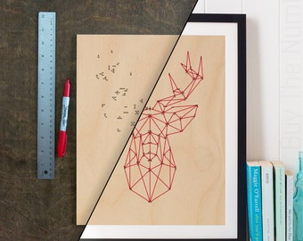 DIY Geometric Deer Dot 2 Dot Artwork, Geometric Artwork, Geometric Animal, Laser Etched, Connect the Dots