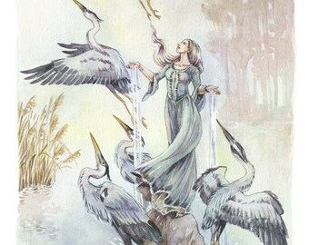 The Lady of Heron Lake - facsimile print