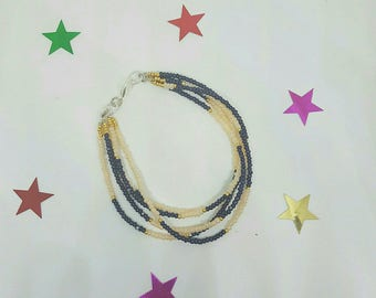 Multi row bracelet seed beads