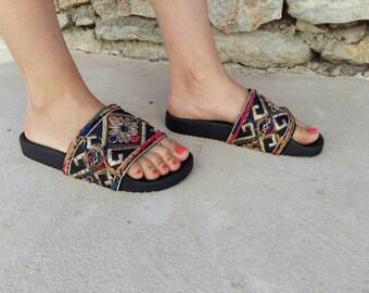 Ethnic sandals, slides, leather slides , pool slides, tailored by Vivian, Boho sandals , flat sandals , Greek sandals ,Greek leather sandals