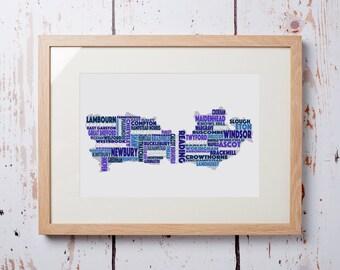 Berkshire Word Map - Framed Print