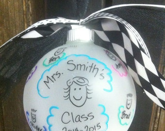 Teacher/class Ornament - hand painted christmas ornament