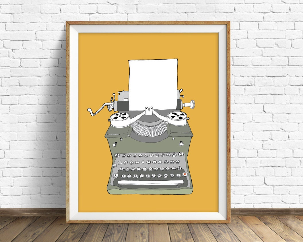 Typewriter No. 2 - drawing, art print, mid century modern, wall art ...