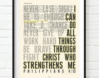 Vintage Bible page verse scripture I Can Do all things Philippians 4:13 ART PRINT, UNFRAMED, dictionary inspirational christian gift