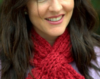 Scarf Knitting Pattern: Women's Looped Scarflette (PDF DOWNLOAD)